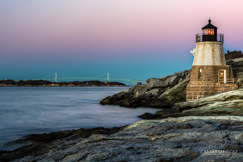 Castle Hill Lighthouse Newport Ri Sunset With Claiborne Pell Bridge Camayah Photography