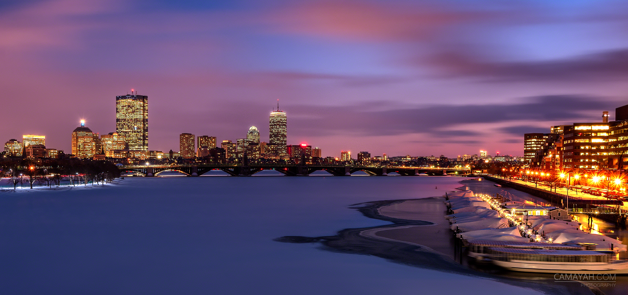 boston skyline as seen from the museum of science